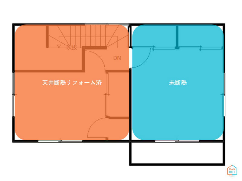天井断熱の施工範囲