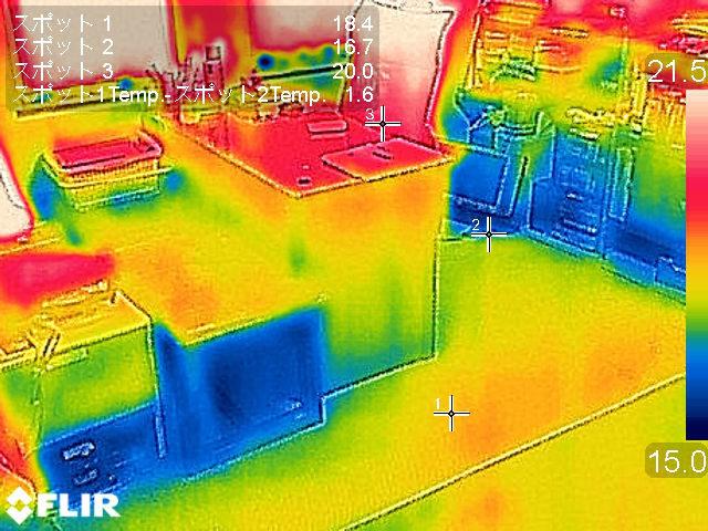 施工後の床表面温度