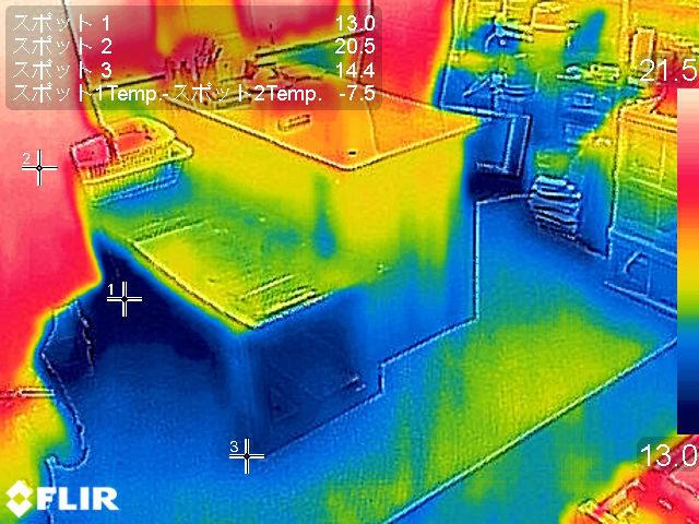 施工前の床のサーモ画像